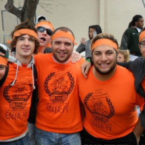 (from left to right) Brothers Josh Marzano, Will Schaub, Chris Schmitt, Jeremy Weidmaier, Chris Galarza, and Devin Cordero during Greek Week 2013